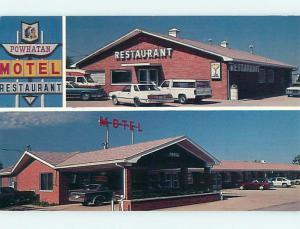 Unused Pre-1980 OLD CARS & POWHATAN MOTEL & RESTAURANT Pocahontas IL u4889