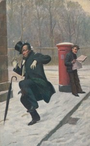 Man in top hat hit by snowball, Boy w/ newspaper, 1900-10s
