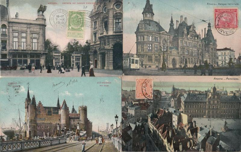 Lot 4 postcards Belgium Antwerp better lot