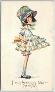 Vintage Comic / Greetings Postcard I May Be Skinny, But I'm Nifty 1919 Cancel