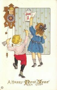 New Year~Victorian Children Celebrate~Turn Calendar~Cupid Cuckoo Clock~Emb~56 D