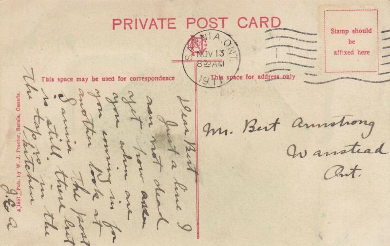 SARNIA , Ontario , 1911 ; Cleveland Sarnia Saw Mills