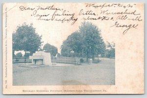 Williamsport Pennsylvania~Brandon Park~Reighard Memorial Fountain~1905 B&W PC