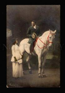 023653 Lovers w/ ARABIAN HORSE. Vintage Tinted Photo