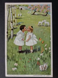 Children Kissing in Field of Lambs SPRINGTIME OF LIFE c1908 by Campbell Art Co