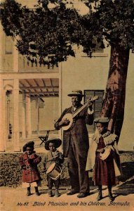 Blind Musician And His Children Bermuda Vintage Postcard