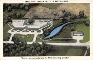 Natchez Mississippi Bellemont Motor Hotel Birdseye View Antique Postcard K47021