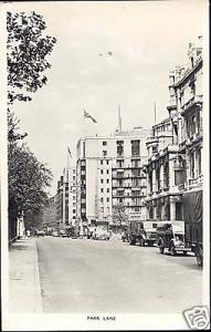 london, LONDON, Park Lane, Cars (1954) RPPC