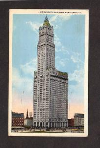 NY Woolworth Building Bldg New York City NYC Vintage Postcard