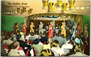 1940s Las Vegas, Nevada Postcard GOLDEN BANK CASINO Golden Girls Dancers LINEN