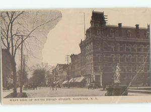 Bent Corner Divided-Back VIEW OF STREET Norwich New York NY n1587