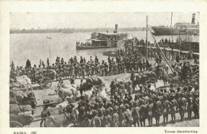PC CPA IRAQ, BASRA, TROOPS DISEMBARKING, VINTAGE POSTCARD (b16242)