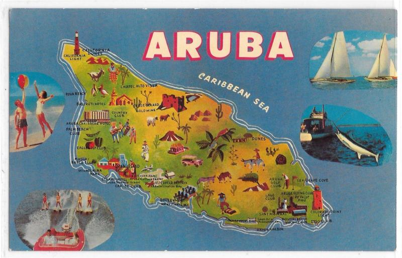 Map of Aruba Netherlands Antilles Illustrated and Photos Vintage Postcard