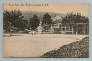 Yama Farms Tennis Court Napanoch New York NY Postcard Antique