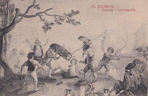 El Escorial La Vaquilla Tapiz de Goya Hotel Miranda Spain Old Postcard