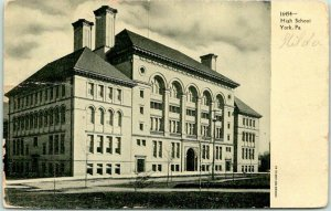 YORK, Pennsylvania Postcard HIGH SCHOOL Building / Street View / 1907 Cancel