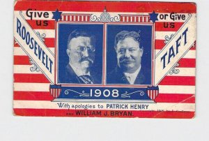 PPC POSTCARD GIVE US ROOSEVELT OR GIVE US TAFT 1908 ELECTION