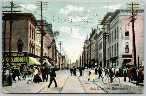 Richmond IN~Main St~Nusbaum Rubbers~Lots of Human Interest~Pedestrians~Bicycle