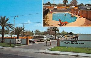 Tempe Arizona Travel Trailer Villa Multiview Vintage Postcard K37382