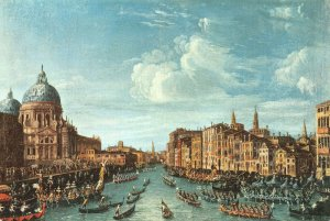 Giant Size Italy Art Postcard, Venice, Regate in Canal Grande by Canaletto OS223