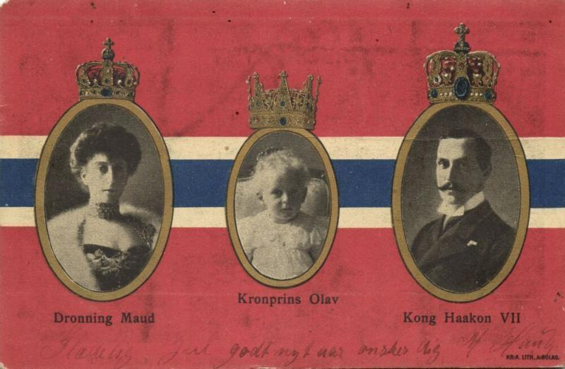 norway norge, Kong Haakon VII, Dronning Maud, Kronprins Olav, National Flag 1905