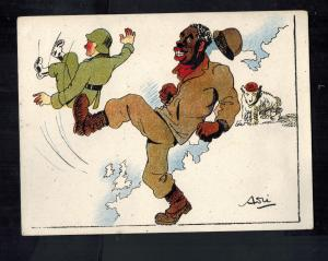 Mint WW2 France  Patriotic Postcard Black Soldier Kicking German Out