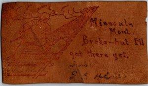 Leather, Man Walking Railroad Track Missoula MT Broke Postcard U01