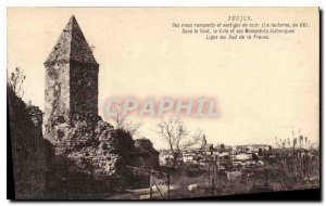 Old Postcard Frejus its old ramparts and tower remains