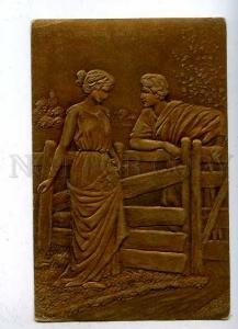 184843 GREECE Lovers in Gold Vintage EMBOSSED France Russia PC