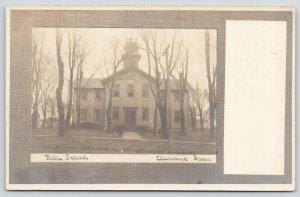Clarence Iowa~Tiny Widow's Walk Atop Public School~c1910 RPPC Postcard