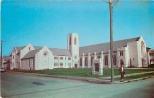 Seguin Texas~First Methodist Church~Young Lady on Corner~1950s Fashion~PC