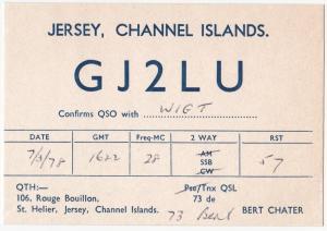 QSL, GJ2LU, St Helier, Jersey, 1978