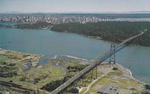 Aerial view,  Lions Gate Bridge looking towards the city harbour,  Vancouver,...