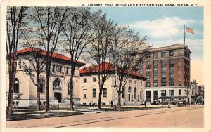 Library, Post Office & First National Bank Olean, New York Postcard