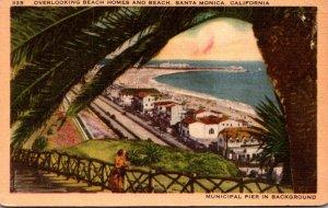 California Santa Monica Overlooking Beach Homes and Beach