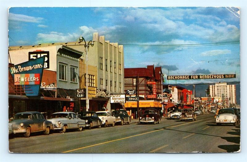 Postcard AK Anchorage 1950's Fourth Avenue Street View Cars Stores R60