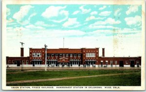 Hugo, OK Postcard UNION STATION Frisco Railroad, Handsomest in Oklahoma c1920s