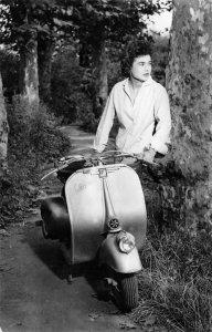 VESPA Woman & Motorcycle Scooter Pin-up Girl 1957 Vlissingen Vintage Postcard