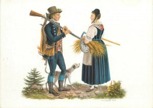 Switzerland swiss early folk costumes ethnic types Graubunden