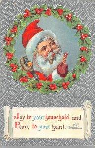 G69/ Santa Claus Christmas Postcard c1910 Candy Smoking Pipe 2
