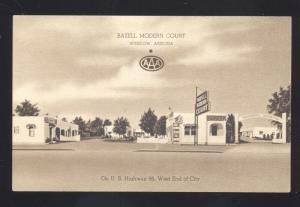 WINSLOW ARIZONA ROUTE 66 BAZELL MODERN COURT LINEN ADVERTISING POSTCARD