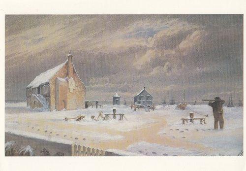 Pistol Gun Snowstorm Aldeburgh Suffolk Disaster Painting Postcard