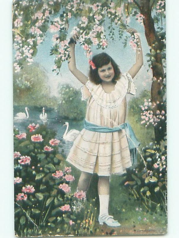 Pre-Linen SWAN BIRDS BEHIND GIRL REACHING FOR FLOWERS k4422