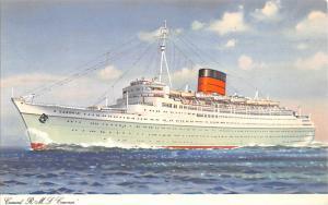 White Star Line Cunard Ship Post Card, Old Vintage Antique Postcard RMS Caron...