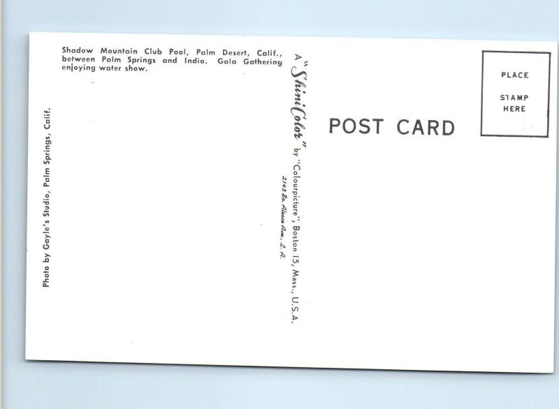 PALM DESERT, CA  California  SHADOW MOUNTAIN Club Pool c1950s Roadside  Postcard