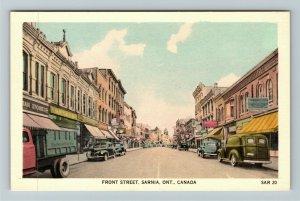 Sarnia ON-Ontario Canada, Front Street, Linen Postcard