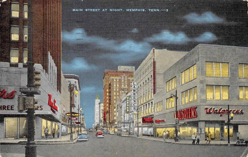 memphis tn tennessee main street scene at night walgreens c1950 s