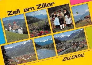 Zell am Zillertal multiviews Kirche Church Folklore Cable Car River Panorama