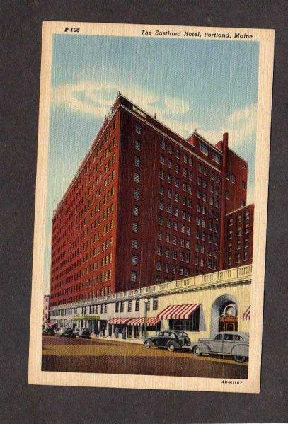 ME Eastland Hotel Portland Maine Postcard Linen PC Carte Postale