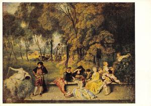 B19298 Art Painting Antoine Watteau Gesellige Unterhaltung in Freien